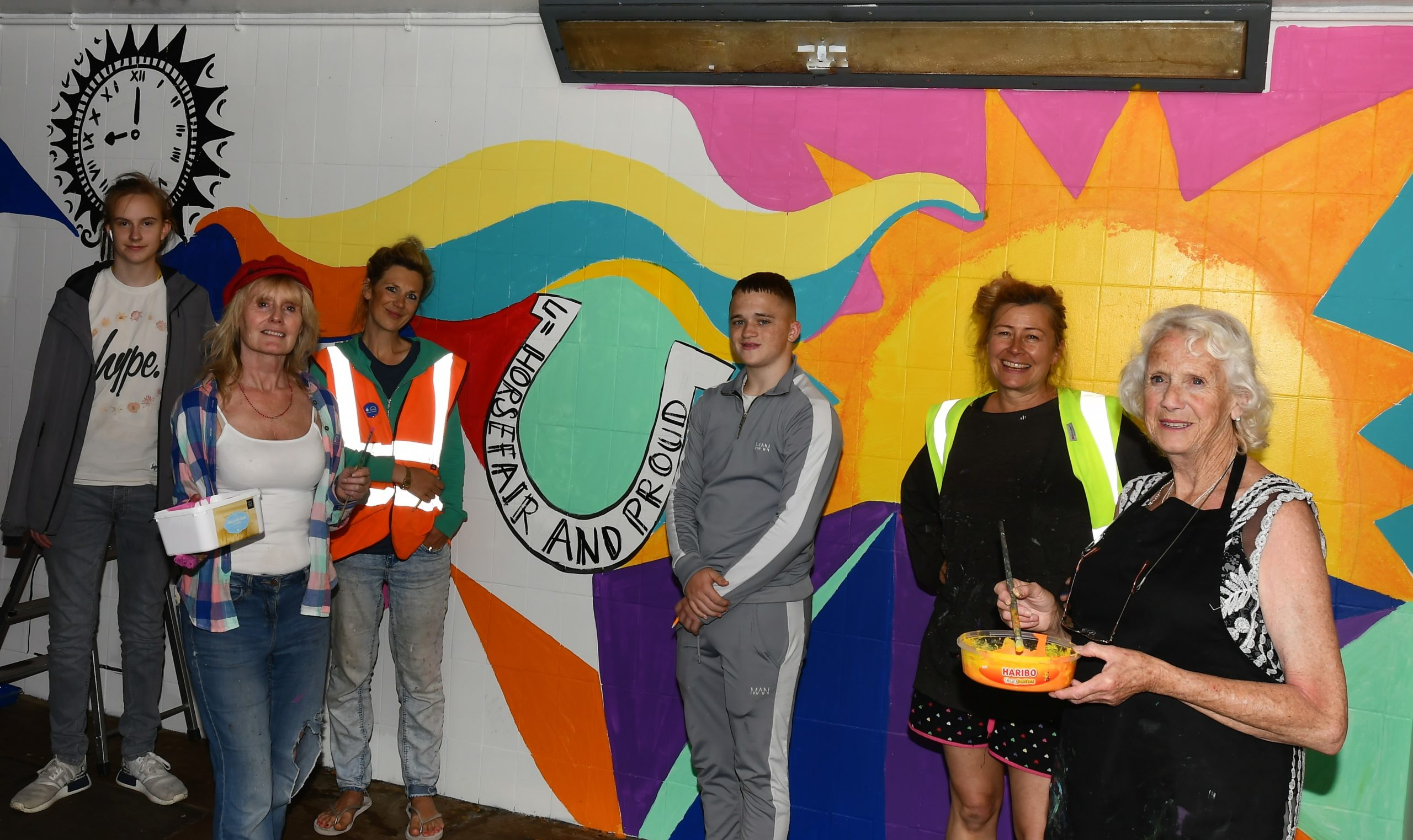 Pictured are: (left to right): Xander (Kidderminster College art student), Dawn (Horsefair and Proud community group), Sarah (Spare Room Arts), Kian (Kidderminster College art student), Kate (Clik Clik Collective) and Dot (Horsefair and Proud volunteer)